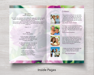 Text and tributes on inside page of purple peonies program