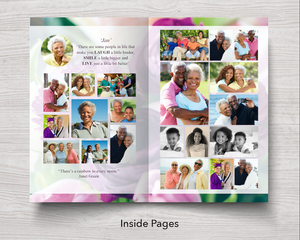 Photo collage page in purple peonies program