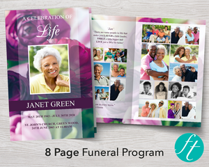 8 Page funeral program template with purple peonies
