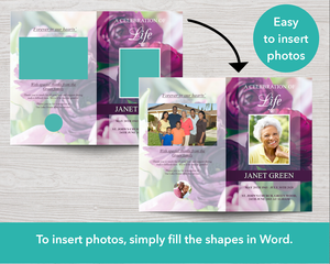 Editable funeral program with easy to insert photo collages