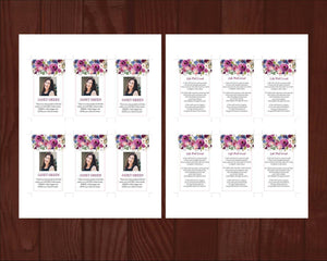 8 Page Purple Roses Funeral Program Template + Prayer Card