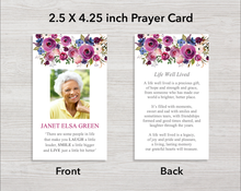8 Page Purple Roses Funeral Program + Welcome Sign & Prayer Card