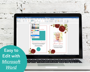 Easy to edit red rose funeral program, simply download, edit in Microsoft Word and print