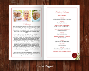 Red rose obituary template for women