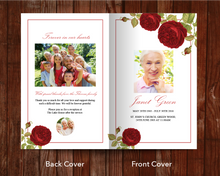 Front and back cover for 8 page red rose funeral program template