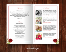 Text and tributes in the red rose funeral program for women