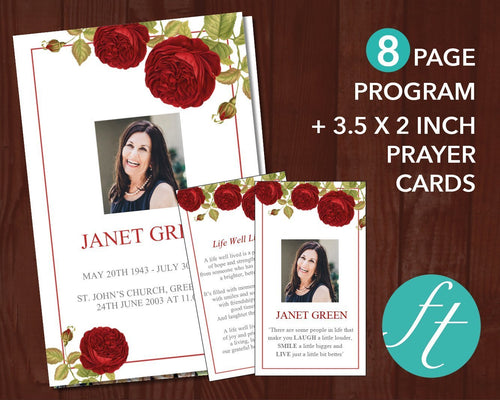 8 Page red rose funeral program template with matching prayer card