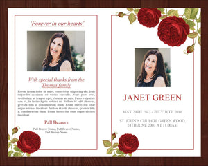 8 Page Red Rose Funeral Program Template + Prayer Card