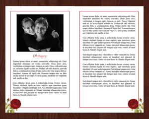 Funeral program template with red rose design.