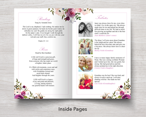 8 Page Rose Bloom Funeral Program Template