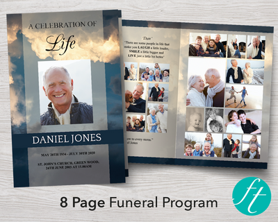 8 Page Sky Funeral Program Template