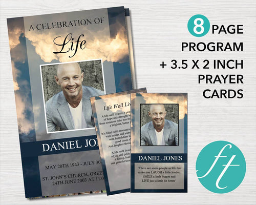 8 Page funeral program template with matching funeral prayer card