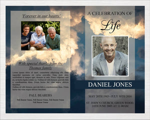8 Page Sky Funeral Program Template + Prayer Card