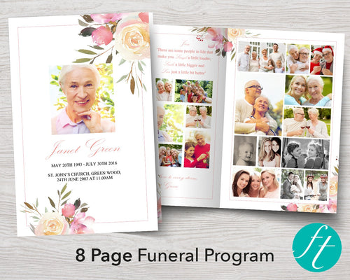 8 Page funeral program template with floral design