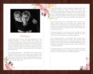 Obituary template for women with floral design and editable text and photos