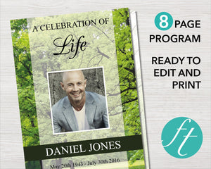 8 page funeral program template for men with woodland design. Easy to edit funeral template, perfect for a funeral service.