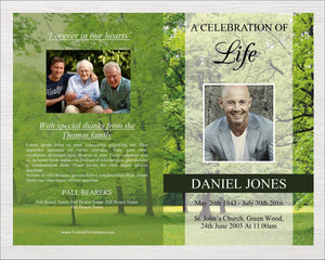 8 page memorial program perfect for a memorial service.