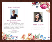 Memorial service program template with flowers