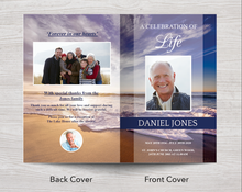 8 Page Waves Funeral Program Template