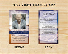 Printable funeral prayer card with editable text