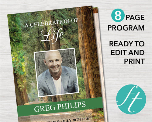 8 page woodland funeral program with editable text and photos. Easy to edit obituary template.