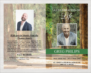 Memorial program ready to download and edit. Perfect for a celebration of life service.