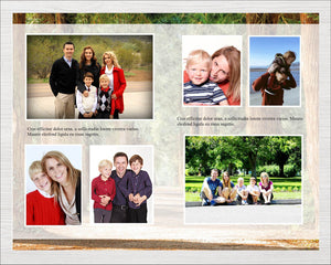 Woodland Funeral program template with editable text and photos.