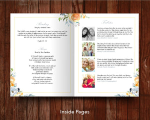 8 Page Yellow Rose Funeral Program Template (11 x 17 inches)