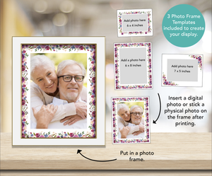 Create a funeral display table with photo frame templates