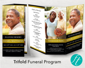 Trifold Golden Funeral Program Template
