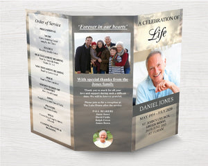 Trifold Mountain Funeral Program Template