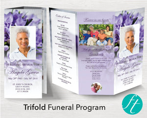 Trifold Purple Bouquet Funeral Program Template