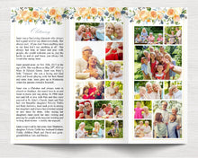 Trifold Yellow Rose Funeral Program Template