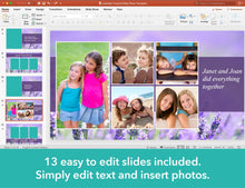 Edit text and insert photos for memorial slide show