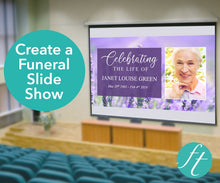 Create a funeral slide show with lavender design