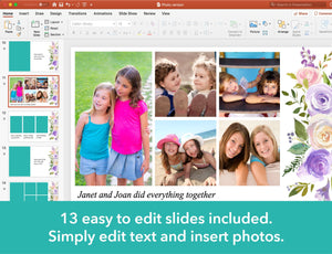 13 easy to edit slides included in the memorial slideshow