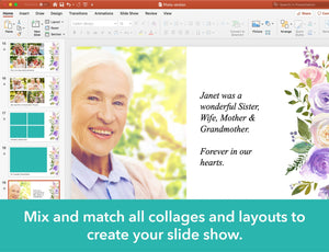 Create your funeral slideshow with included photo collages