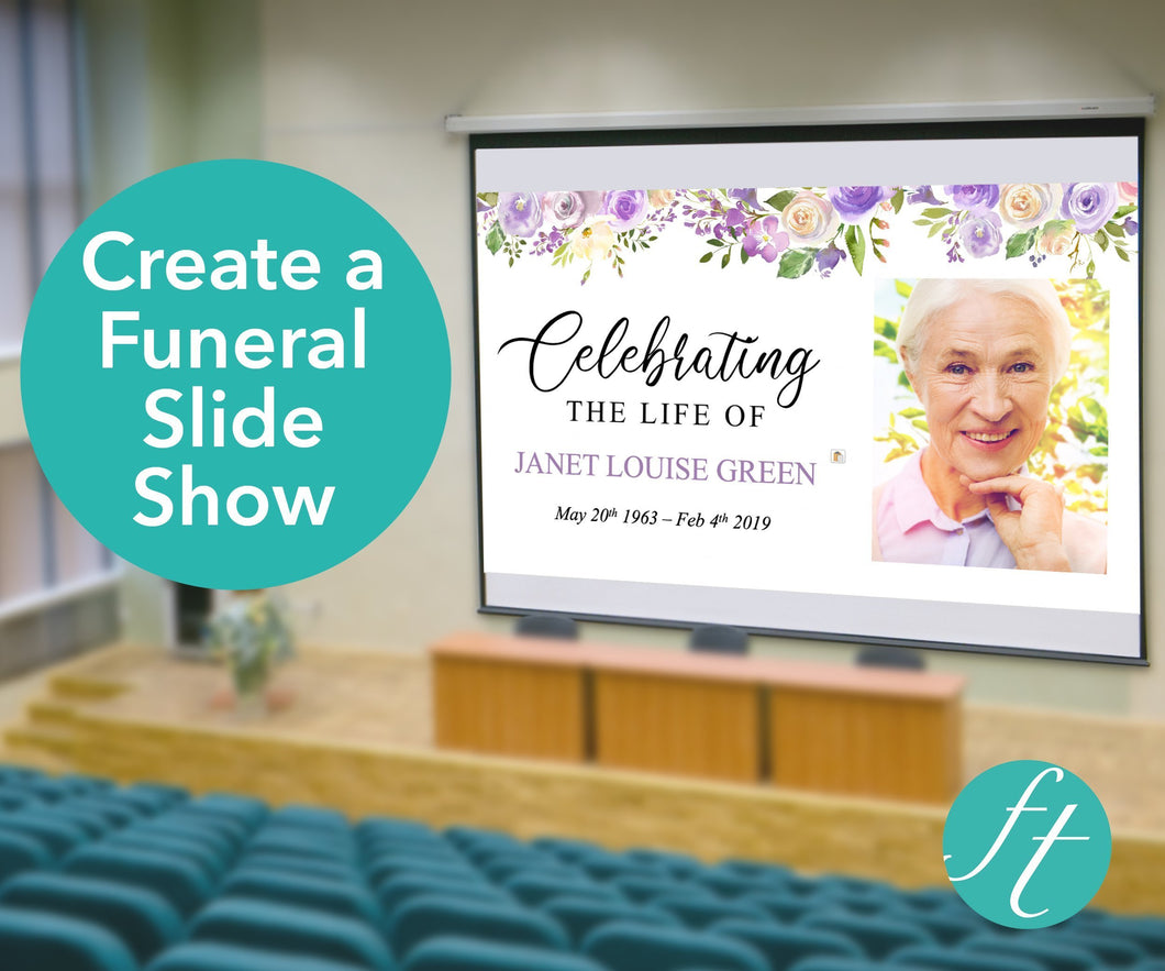 Funeral Slide Show with lilac flowers