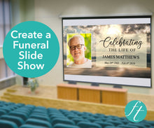 Funeral slide show with mountain design