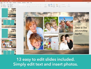 Edit all text and photos on memorial slide show