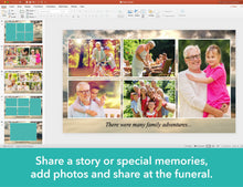 Share memorial slideshow at the funeral