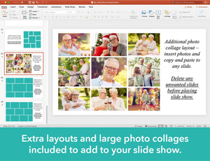 Photo collages for funeral slide show are included