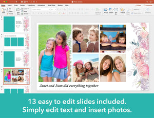 Edit text and insert photos into funeral slideshow