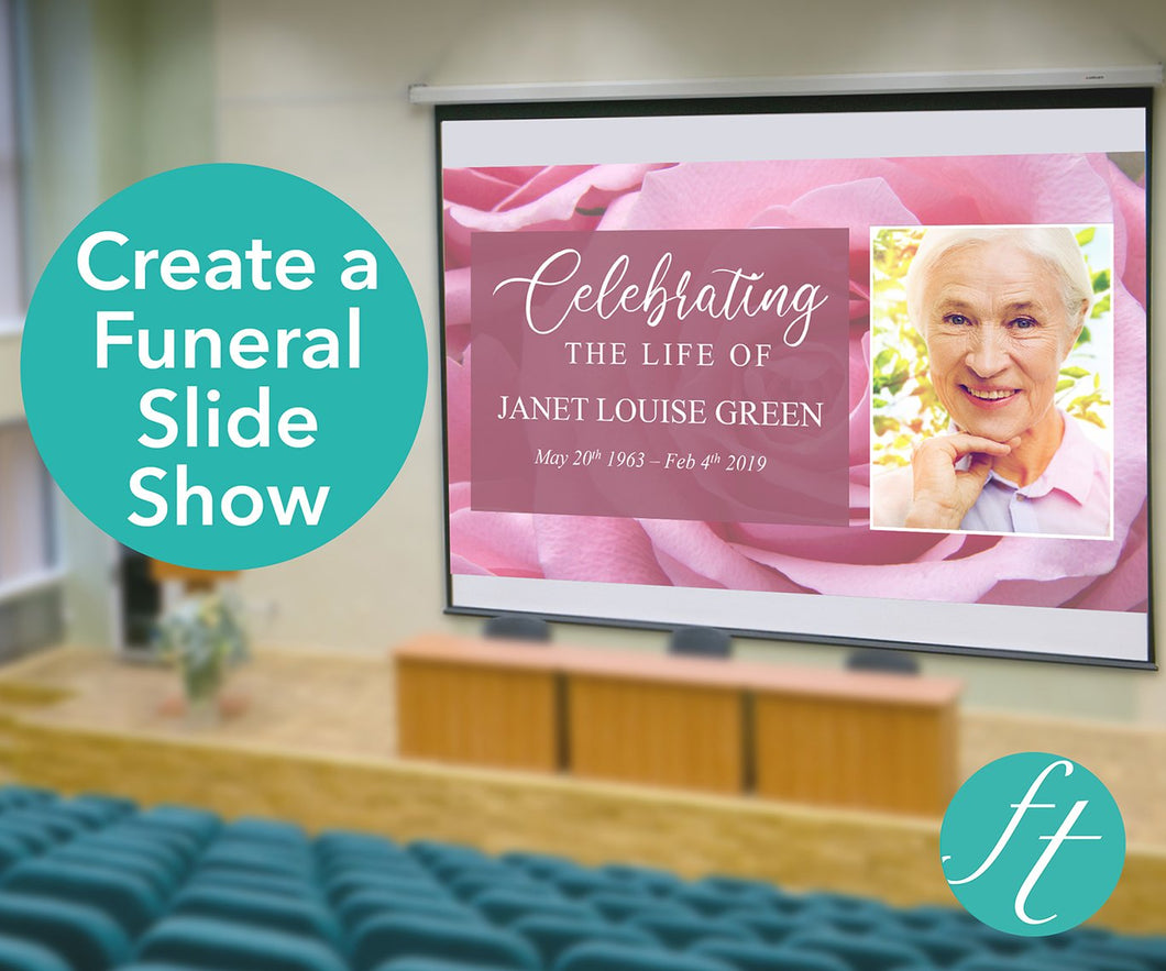 Pink Rose Funeral Slide Show Template