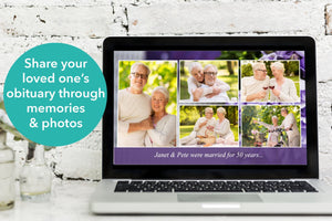 Funeral PowerPoint slideshow with purple flowers