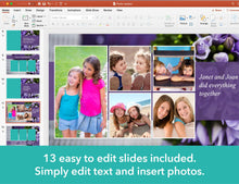 Memorial powerpoint template with purple flowers