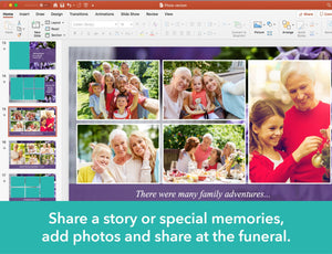 Funeral service slide show template with purple flowers