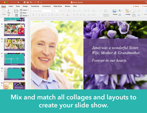 Obituary PowerPoint template with photo collages