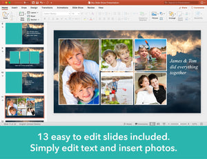 13 easy to edit slides included for celebration of life slide show