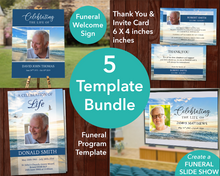 4 Page Beach Program + Sign, Slide Show, Thank You & Invite